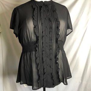 Torrid Sz 1 black chiffon smocked waist top